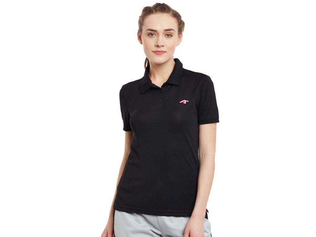 Alcis Womens Black Solid Polo Tshirt