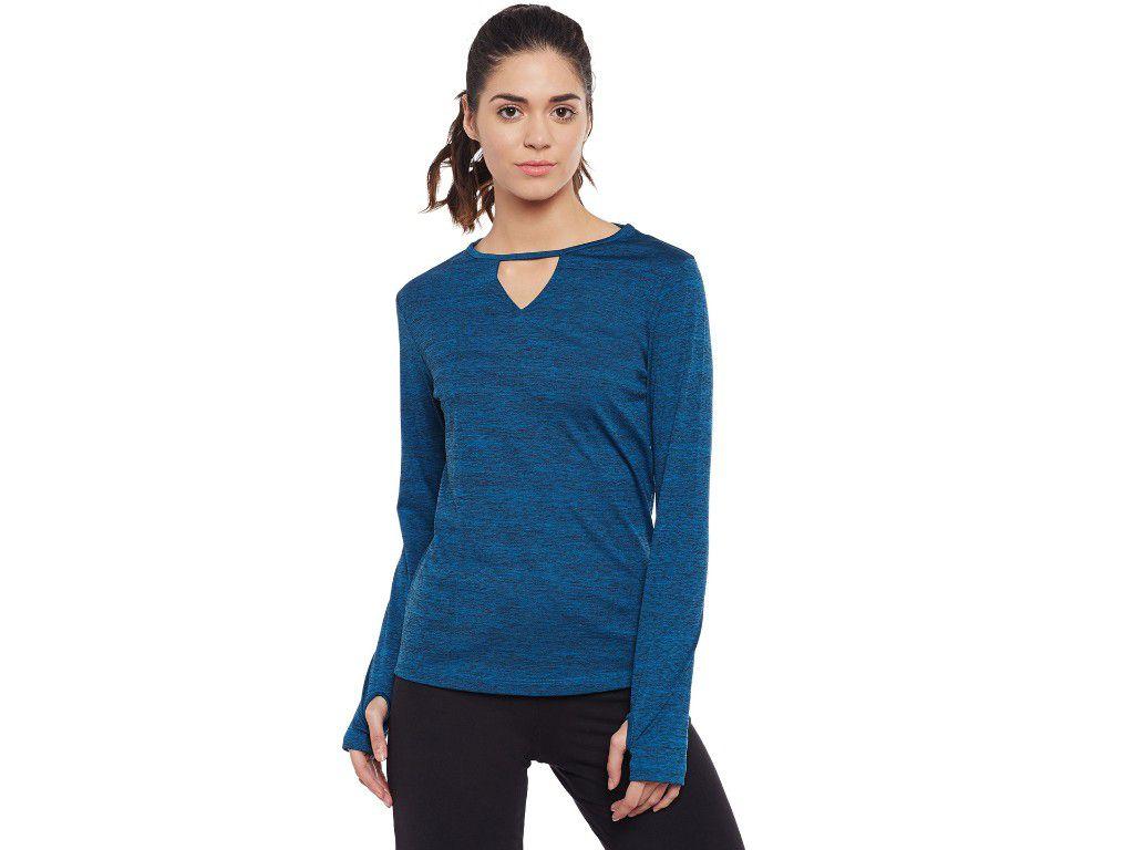Alcis Womens Blue Solid Tshirt