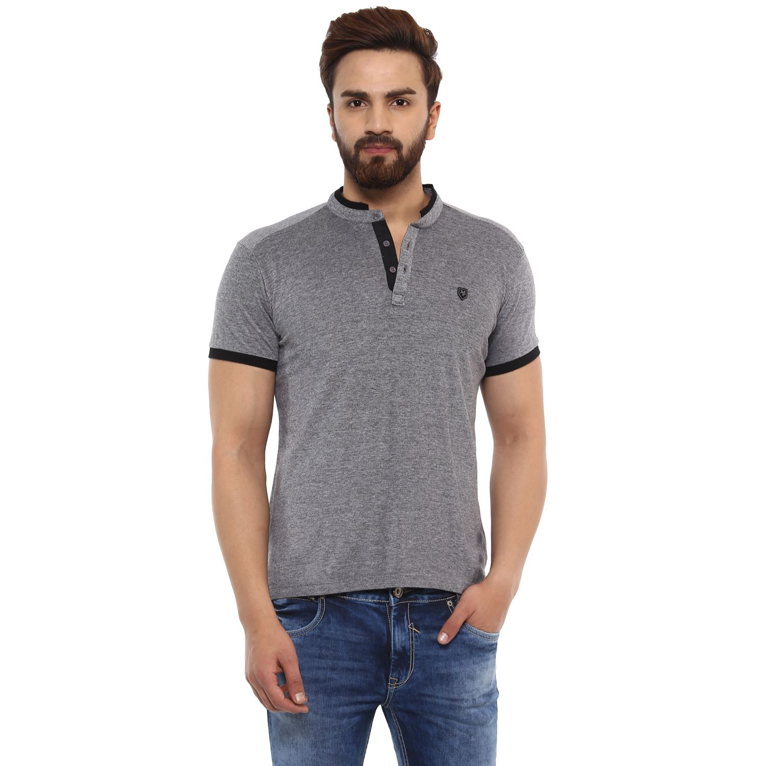 Mufti Grey Henley T-Shirt