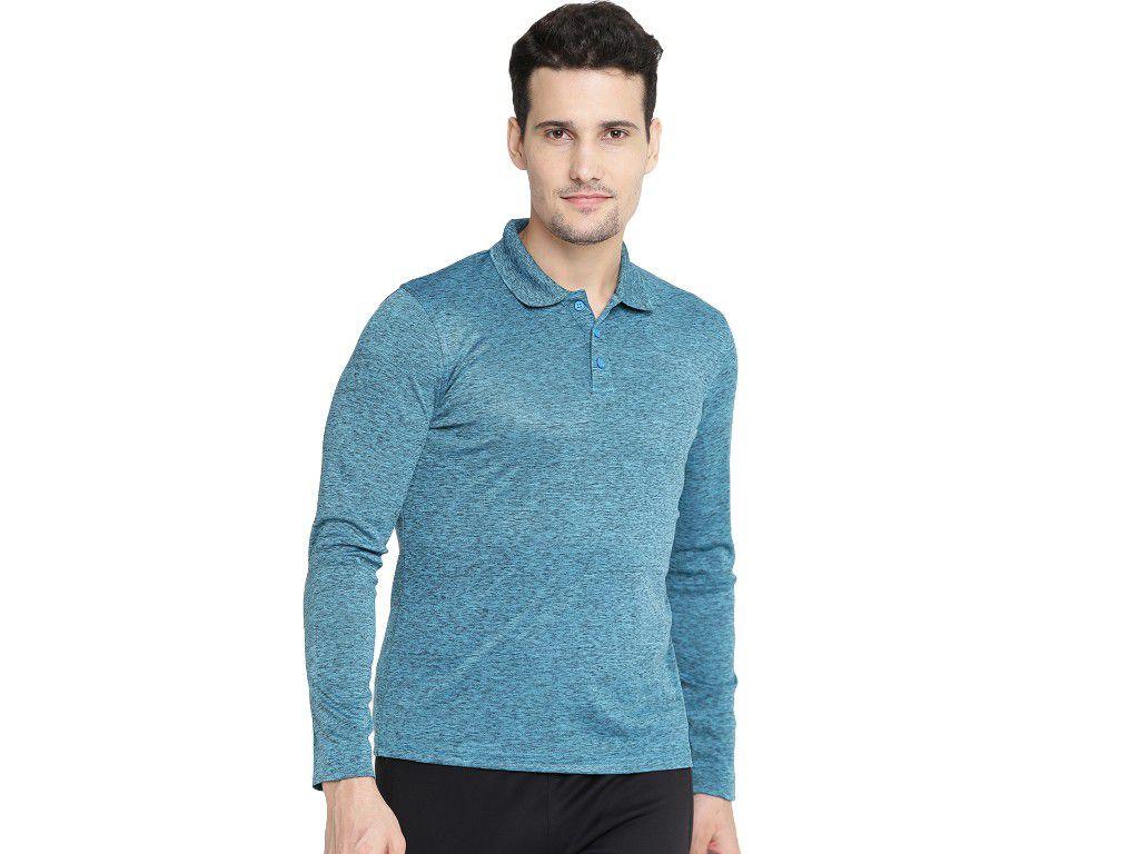 Alcis Mens Blue Solid Polo Tshirt