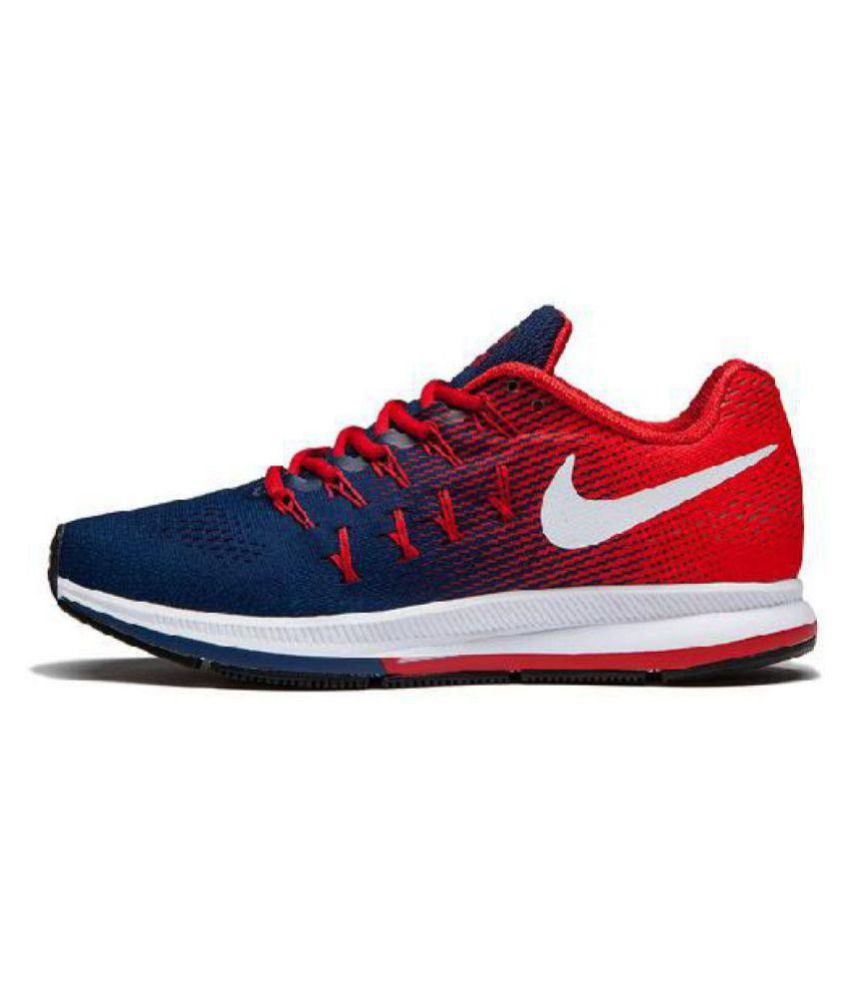 navy and red nike shoes