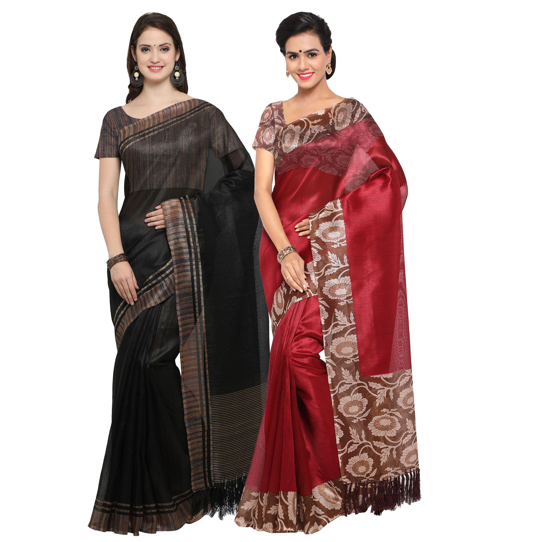 Rajnandini Black Tussar Silk Saree Combos