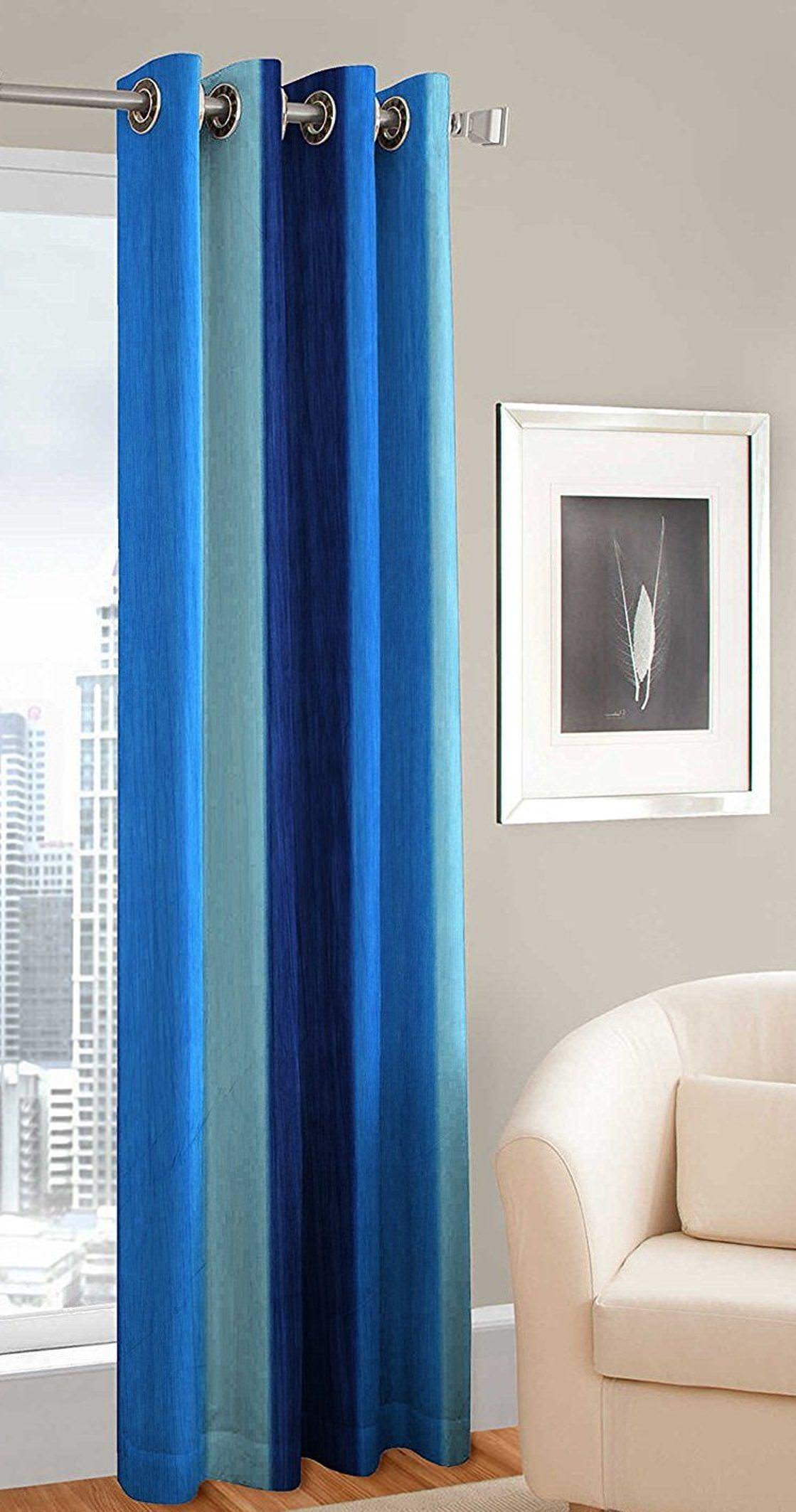 Fresh From Loom Single Window Eyelet Curtains Stripes Blue