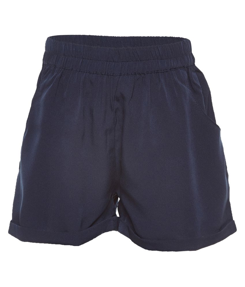 Solid Navy Elasticated Girl Shorts