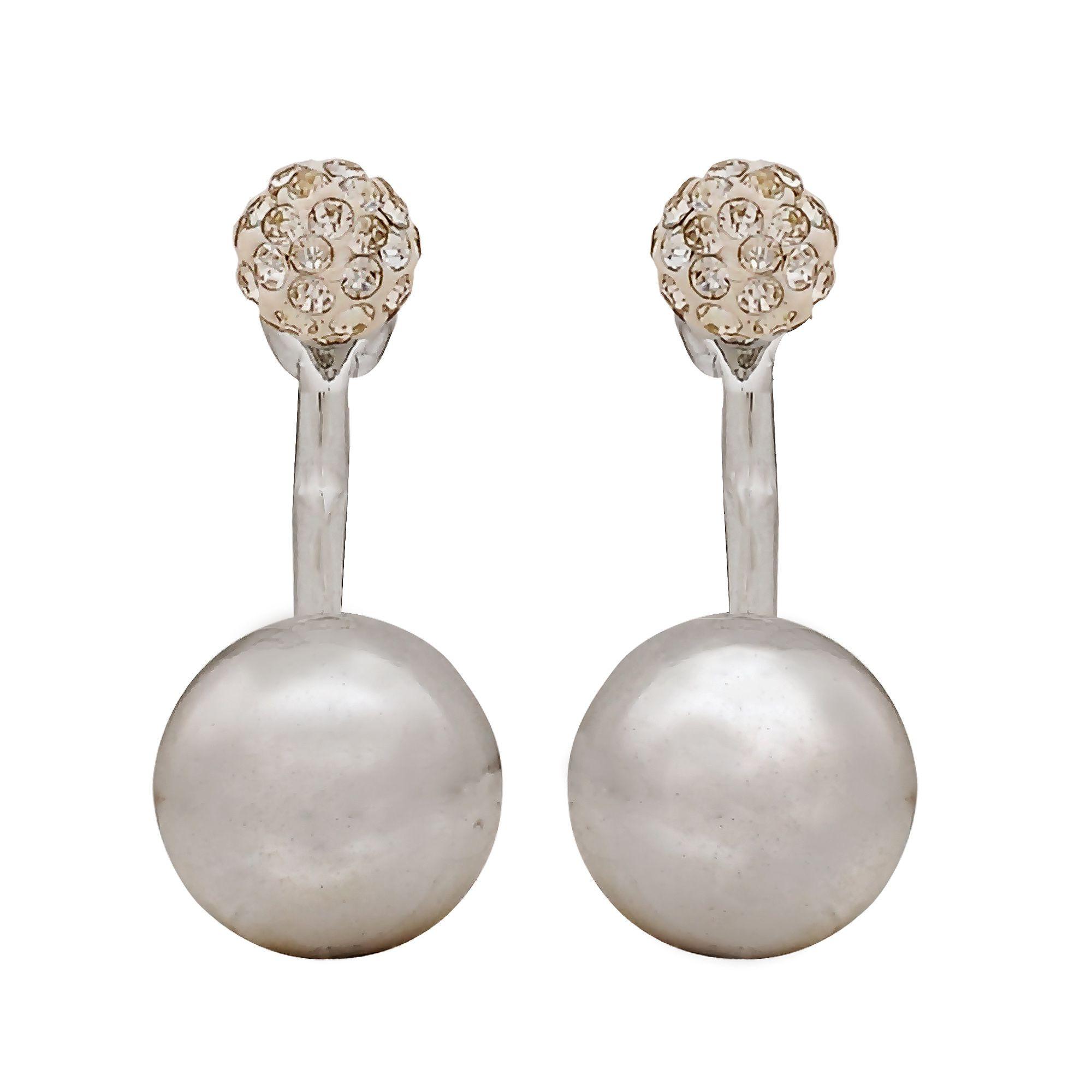 FOR-U Crystal Stone Earrings Silver Ear Cuffs Dailywear Office Jewellery