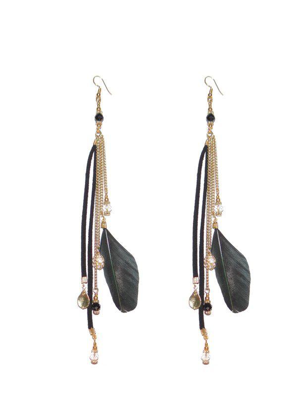 Zurii black tassel feather earring