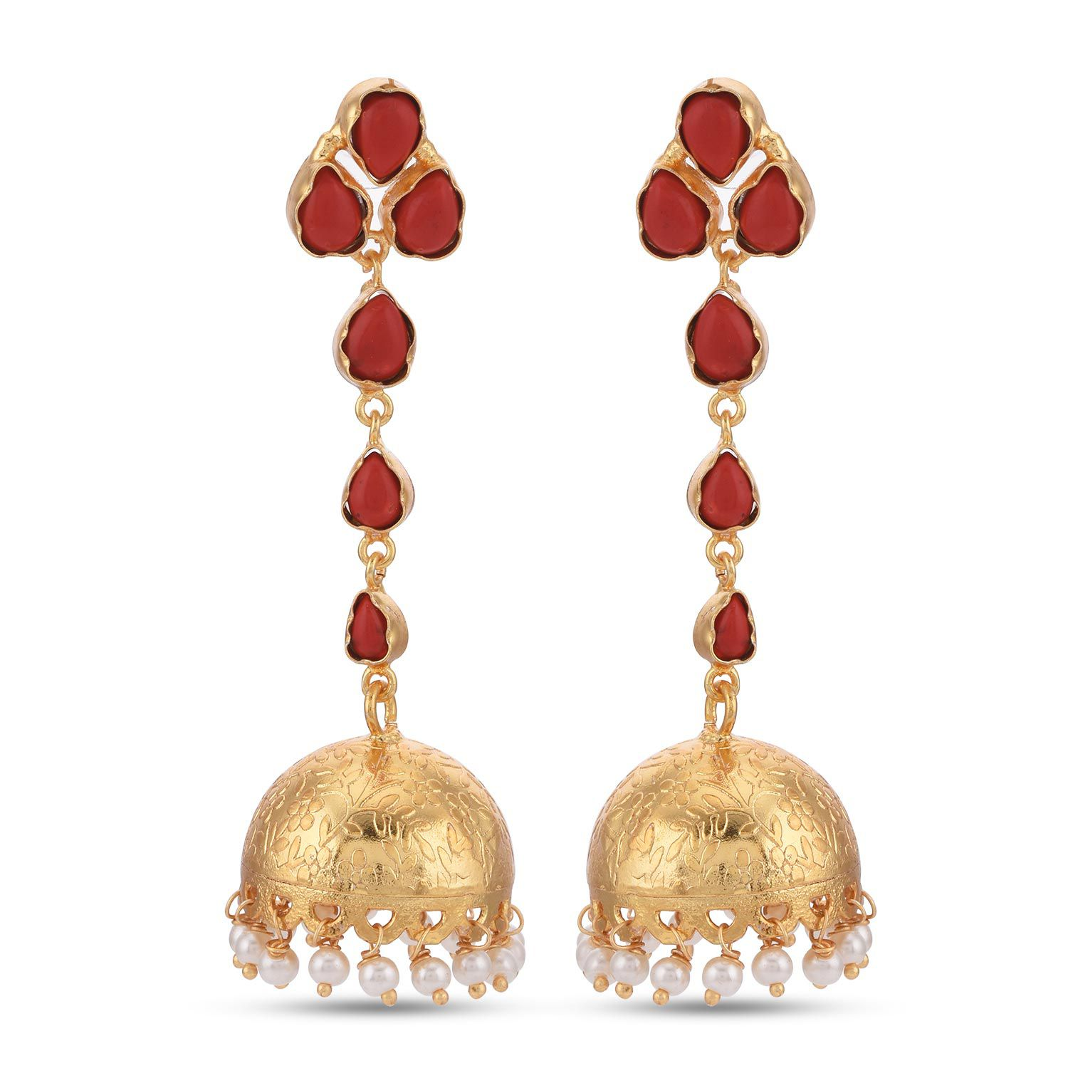 Tistabene Floral Western Style Colored Stone Designer Latest Trendy Party Wear Jhumki Earrings For Women and Girls (ER-3533)