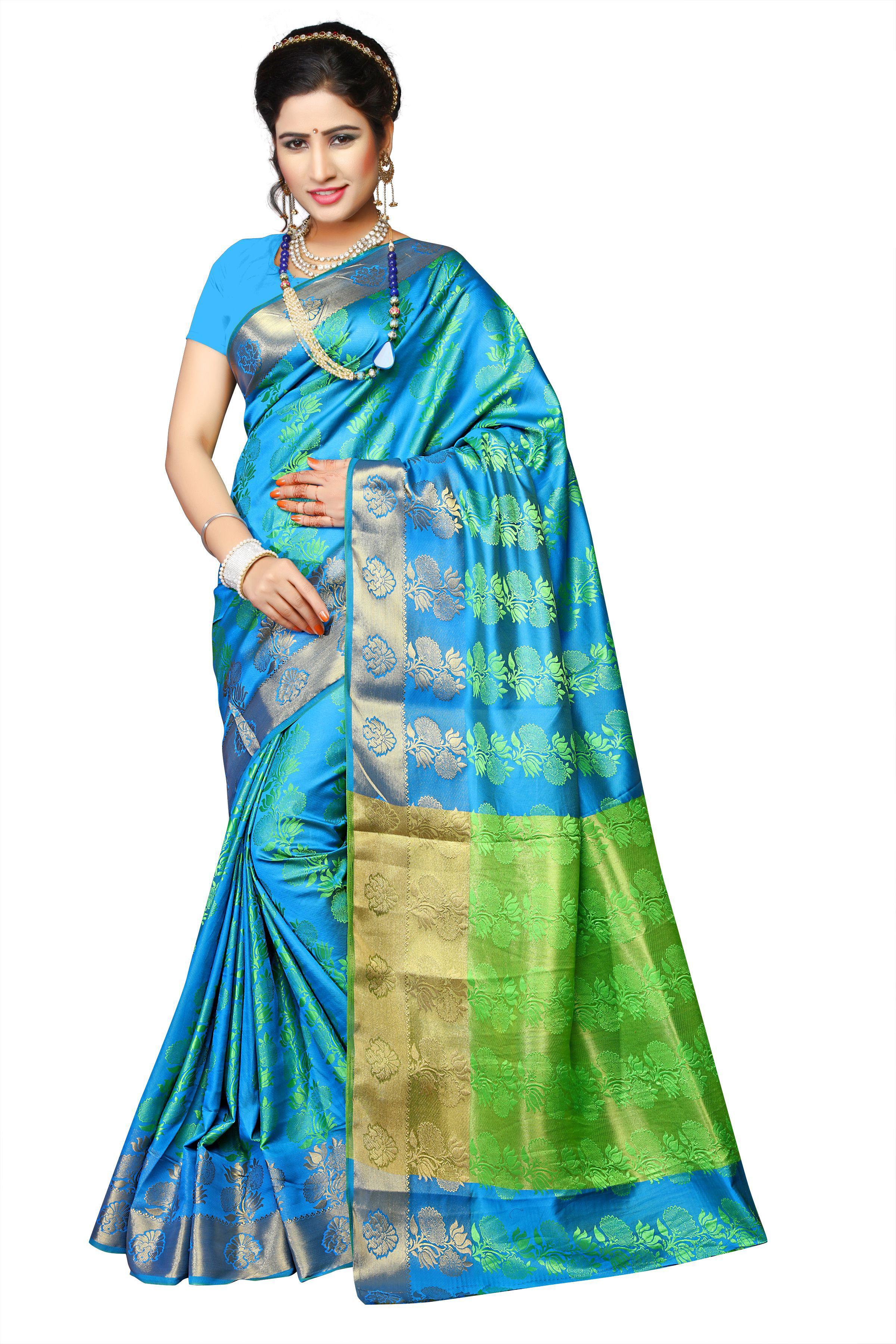 Maroosh Blue Silk Saree