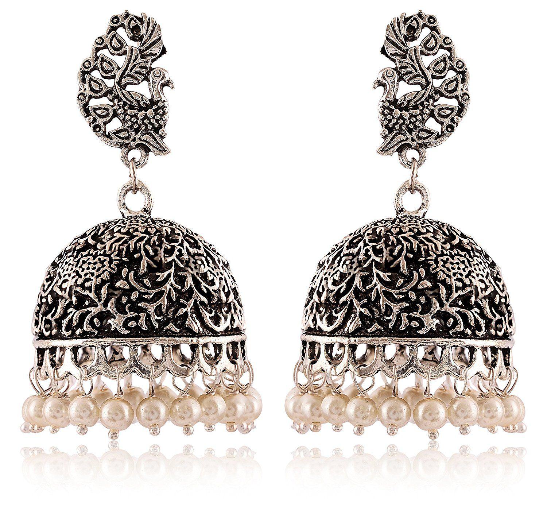 Fashion For Sure Designer Silver Brass Jhumki Earrings for Women (E363)