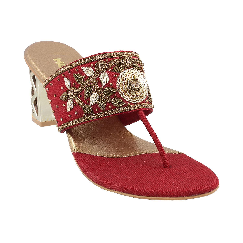 MOCHI Maroon Block Heels