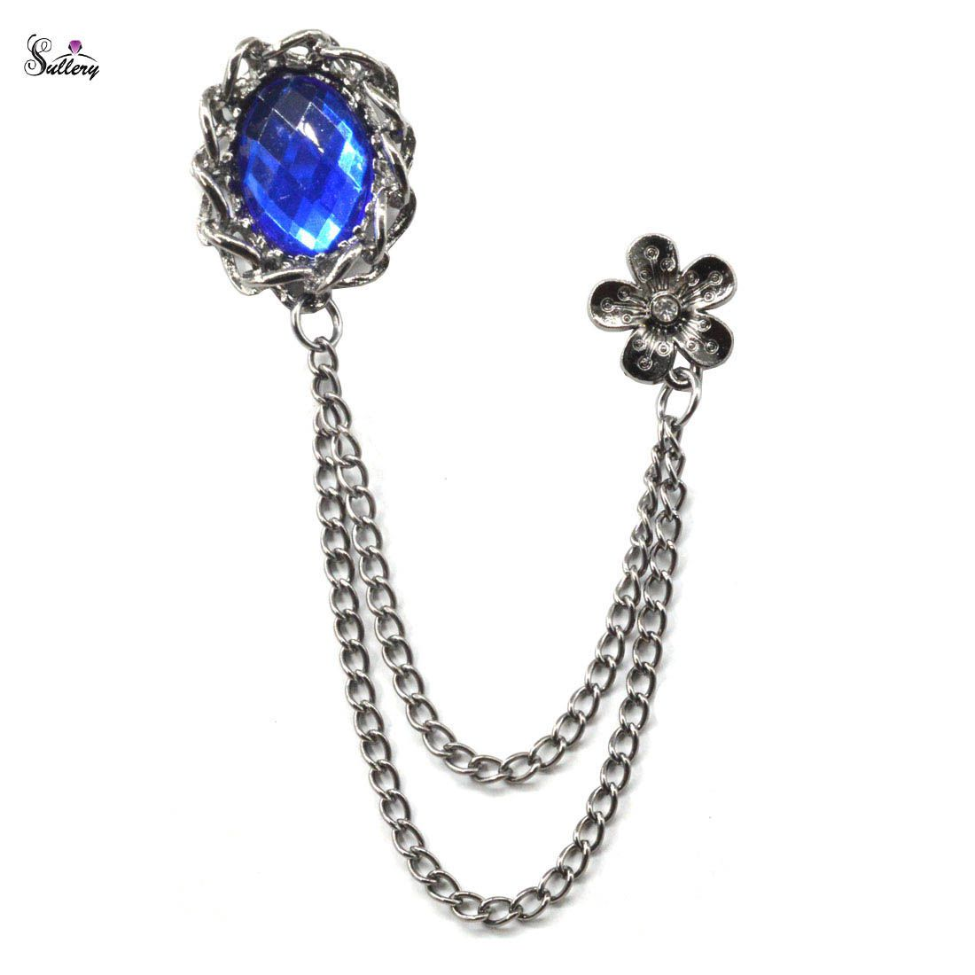 Sullery Fashionable Blue Round  Prism Rhinestone Crystal Flower Brooch Crystal Prism Brooch For Men