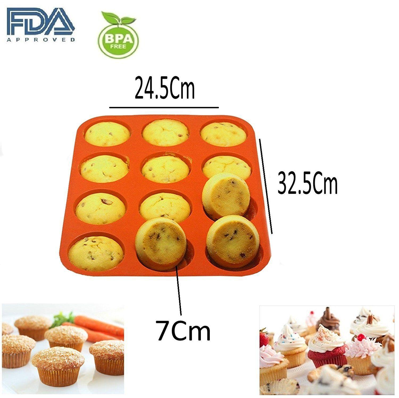 Shuban Silicone Muffin Moulds 12 Cavity-Orange