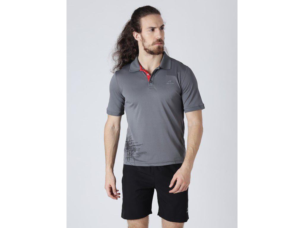 Alcis Mens Printed Grey Polo T-Shirt
