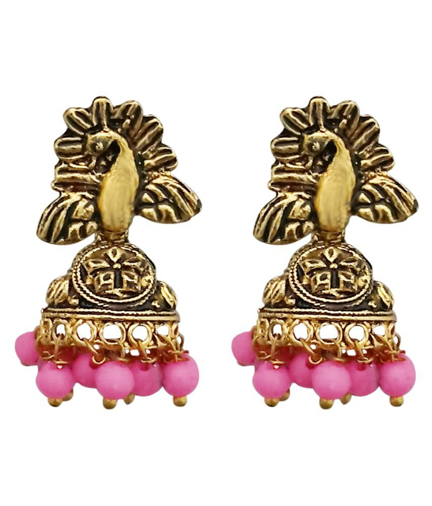 JewelMaze Pink Beads Peacock Design Antique Gold Plated Jhumki Earrings -1311528E