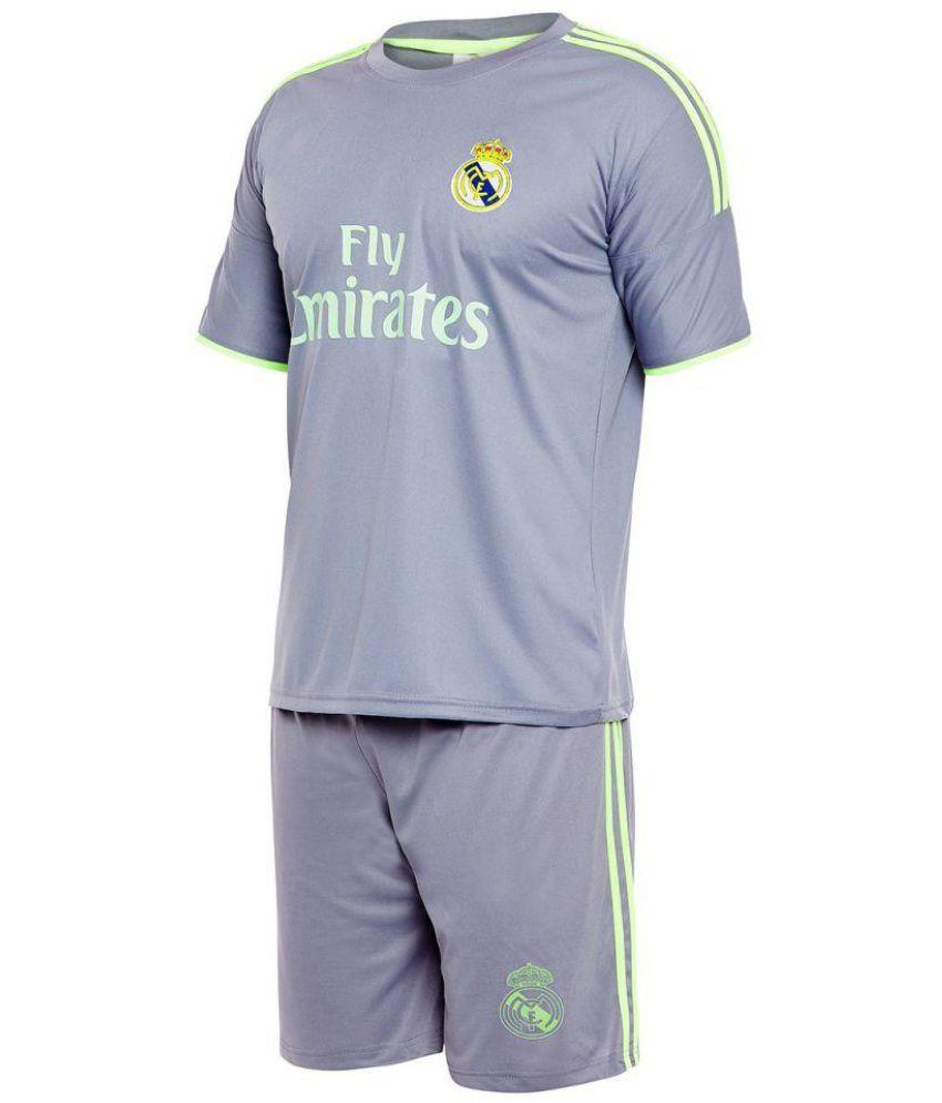 sneakers for cheap ca9d3 3c9b8 Sportigo Replica REAL MADRID - RONALDO 7 Football Jersey Set - Grey/Green  (XL, Shirt Size: 42)
