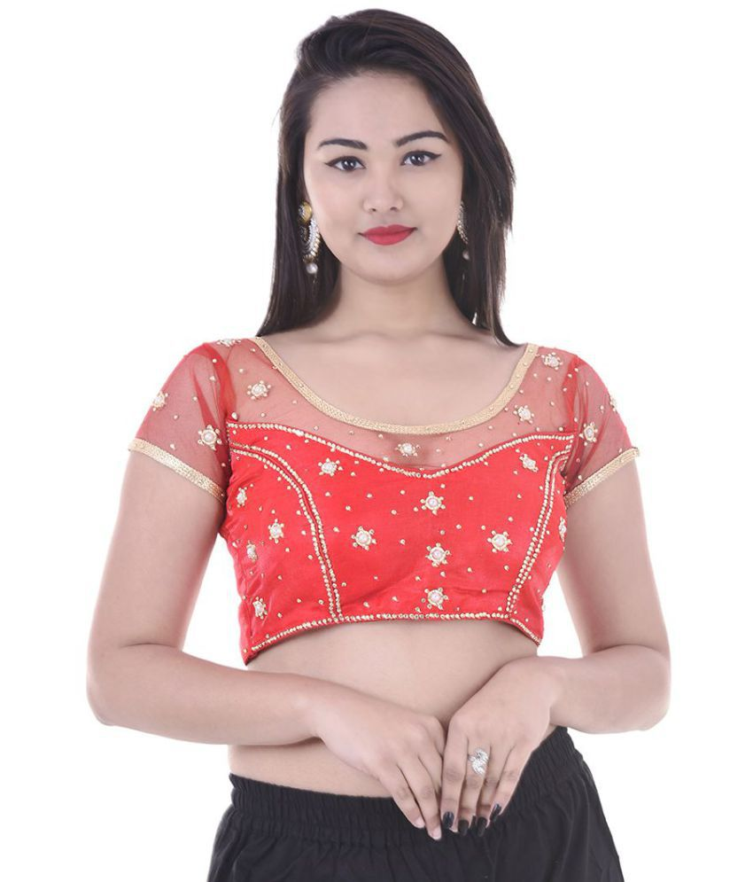 Apratim Red Net Readymade with Pad Blouse