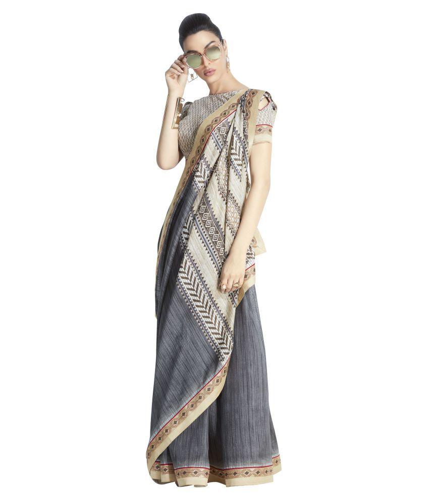 Stylee Lifestyle Grey Bhagalpuri Silk Saree