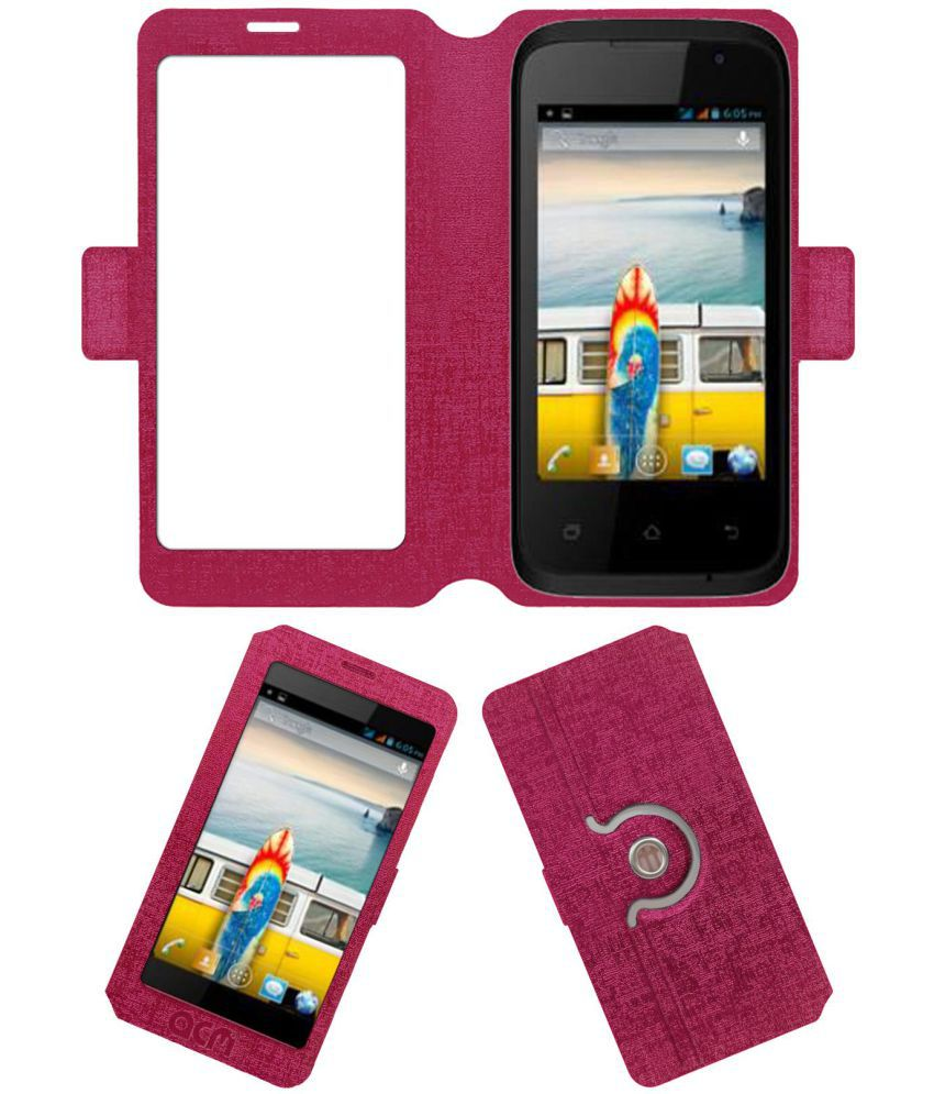 Micromax Bolt A37B Flip Cover by ACM - Pink
