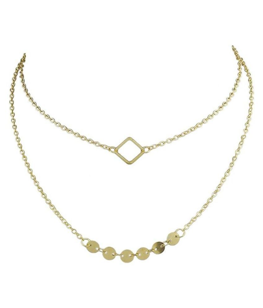 Multi Layer Chain Necklace Minimalist Jewelry Boho Chic Gold Plated Chain Geometric Necklace For Women & Girls