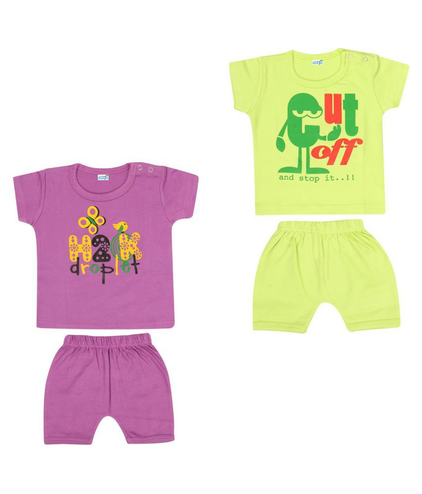 Dongli Soft cotton Unisex Top and Shorts Set (Pack of 2)