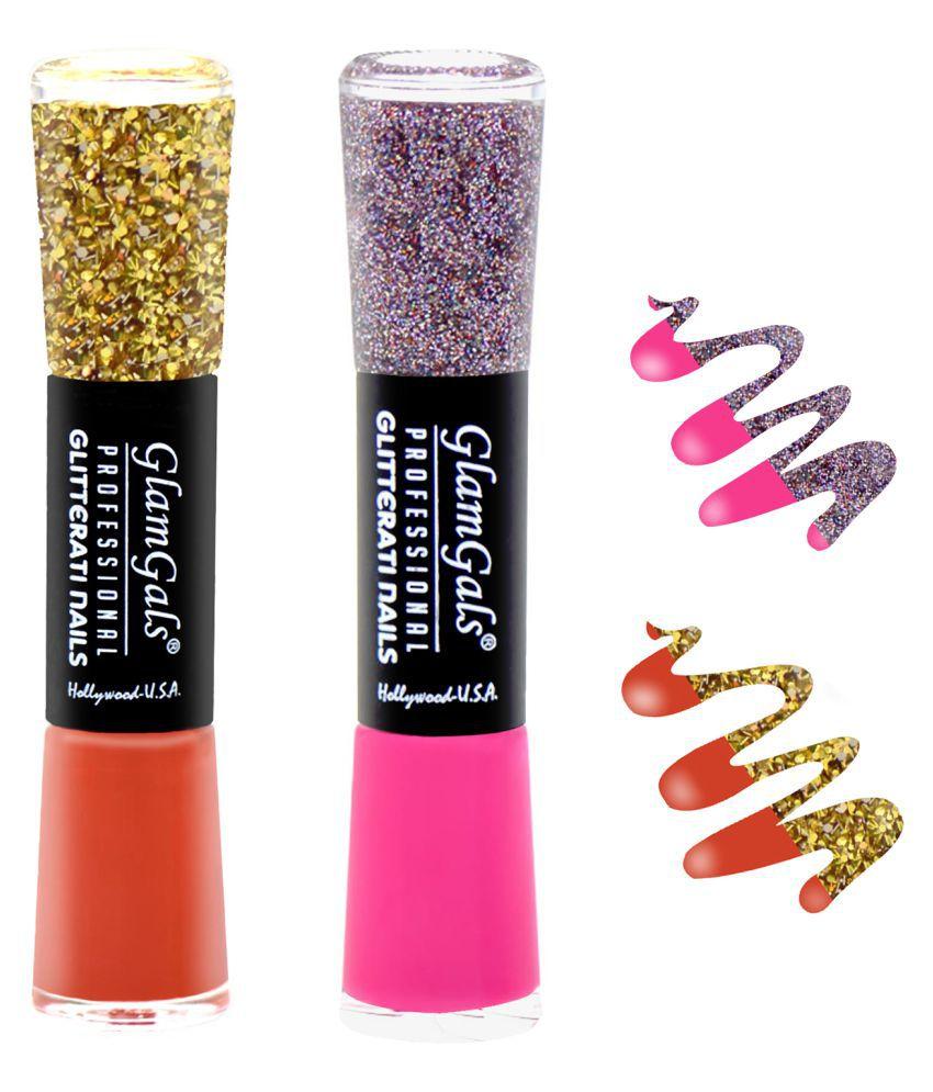 GlamGals Glossy Finish Glitterati  Nail Polish Red, Pink Matte 11 ml Pack of 2