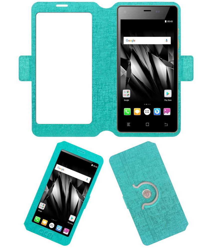 new product c5f29 54f04 Micromax Canvas 5 Lite Q463 Flip Cover by ACM - Blue