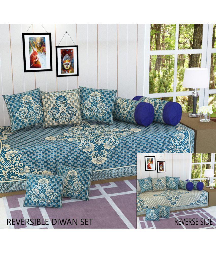 Fresh From Loom Velvet Multi Floral Diwan Set 8 Pcs