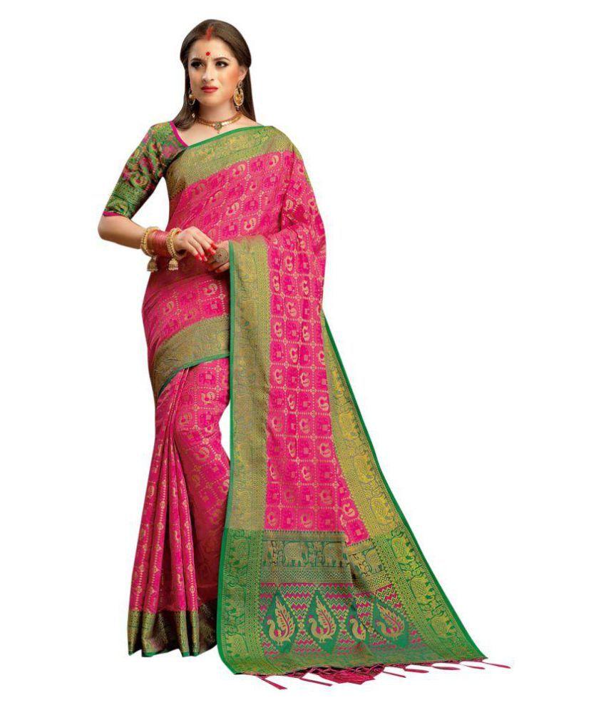 ethnic diwa Green and Pink Cotton Poly Saree