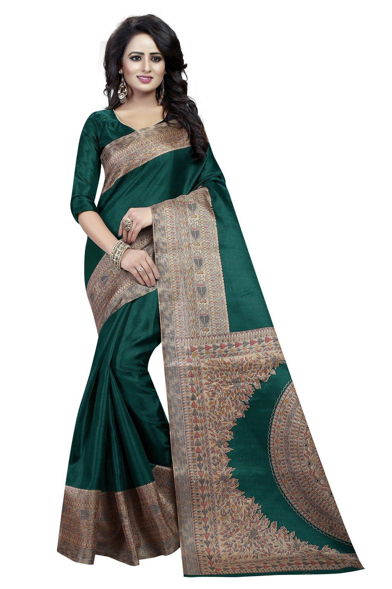 Everest Creation Green Cotton Silk Saree