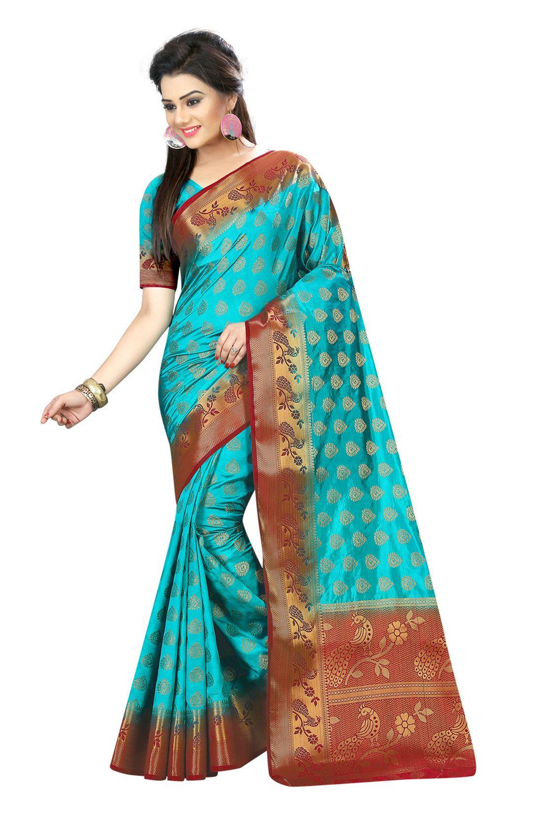 LD Turquoise Silk Saree