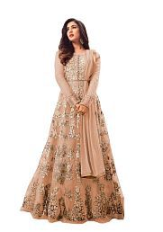 Shreya Creations Peach Net Anarkali Semi-Stitched Suit