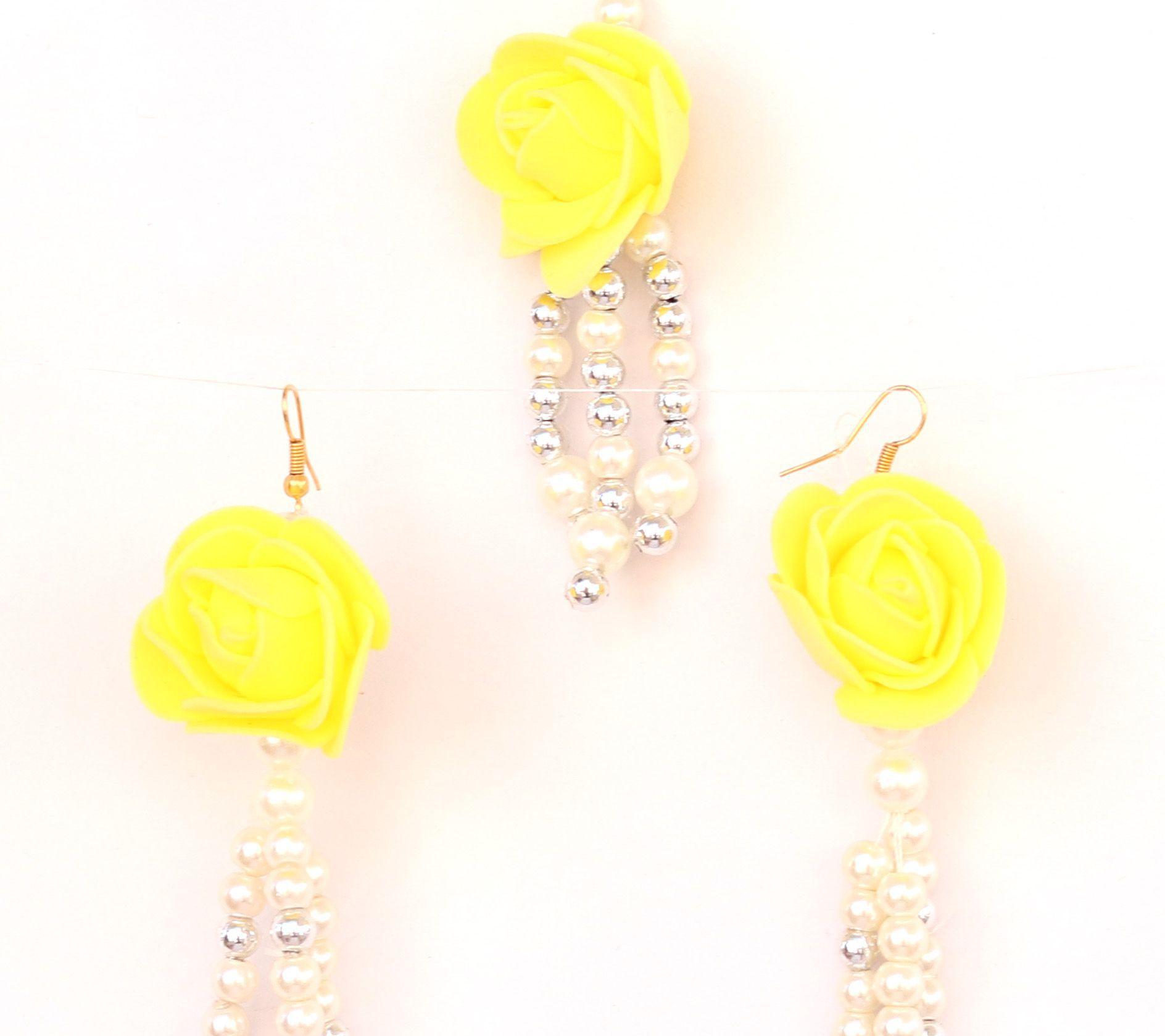Floret Jewellery Pearl Yellow Flower Earrings Maang Tika For Women