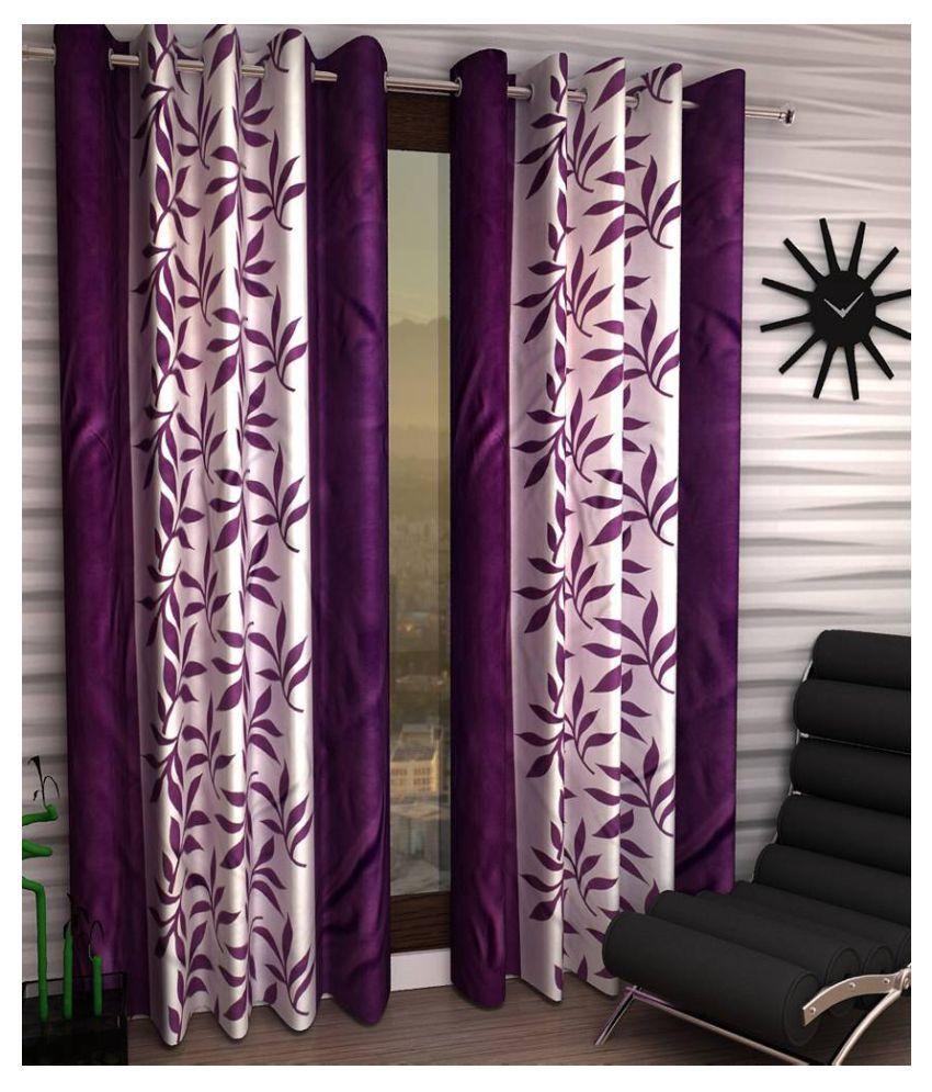 Tanishka Fabs Set of 2 Long Door Eyelet Curtains Printed Purple