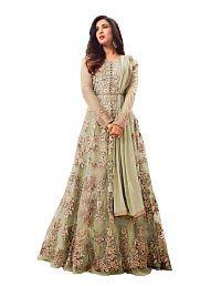 Shreya Creations Green Net Anarkali Semi-Stitched Suit