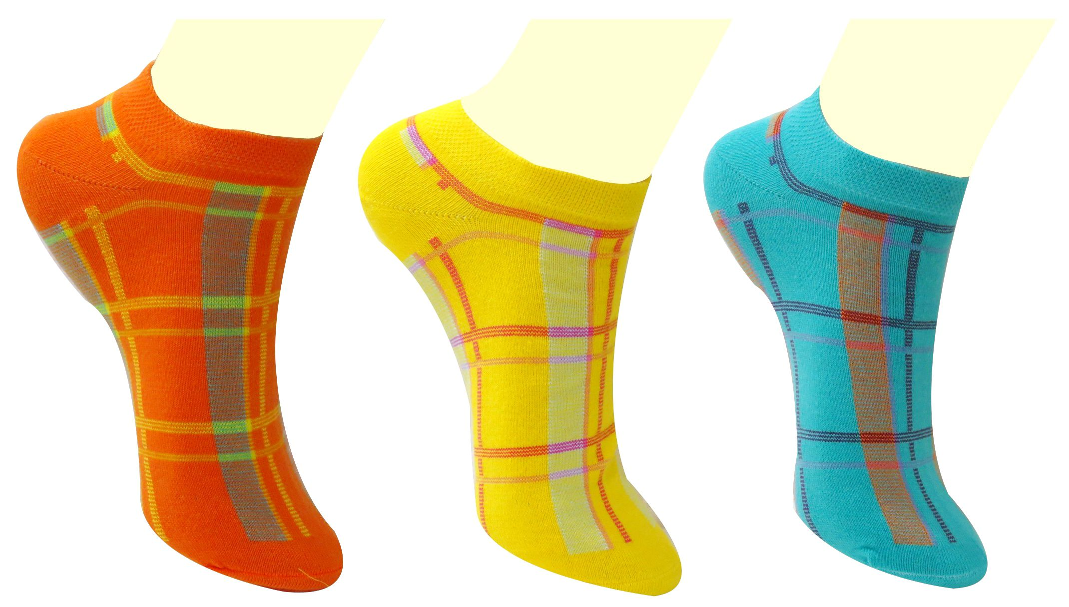 Neska Moda 3 Pair Women's Premium Checks Design Free Size Cotton Ankle Length Socks-Orange,Yellow,Blue