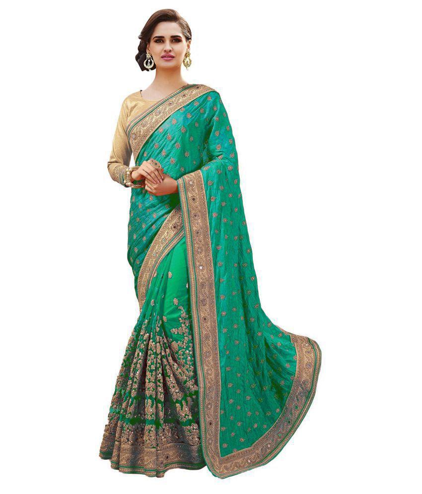 c139fe19e SareeShop Designer SareeS Green and Beige Silk Saree - Buy SareeShop ...