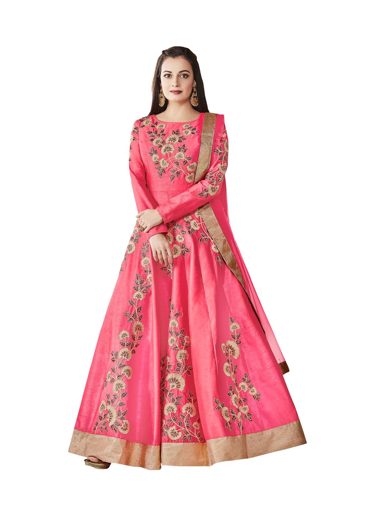 1eba4e4b11 Style Amaze Pink Silk Anarkali Semi-Stitched Suit - Buy Style Amaze Pink  Silk Anarkali Semi-Stitched Suit Online at Best Prices in India on Snapdeal
