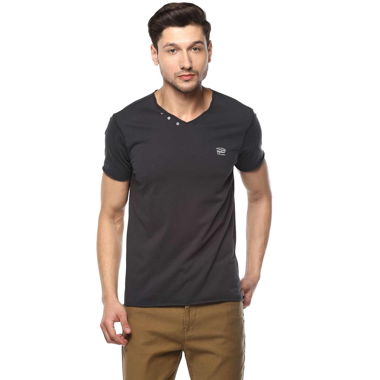 Spykar Black V-Neck T-Shirt
