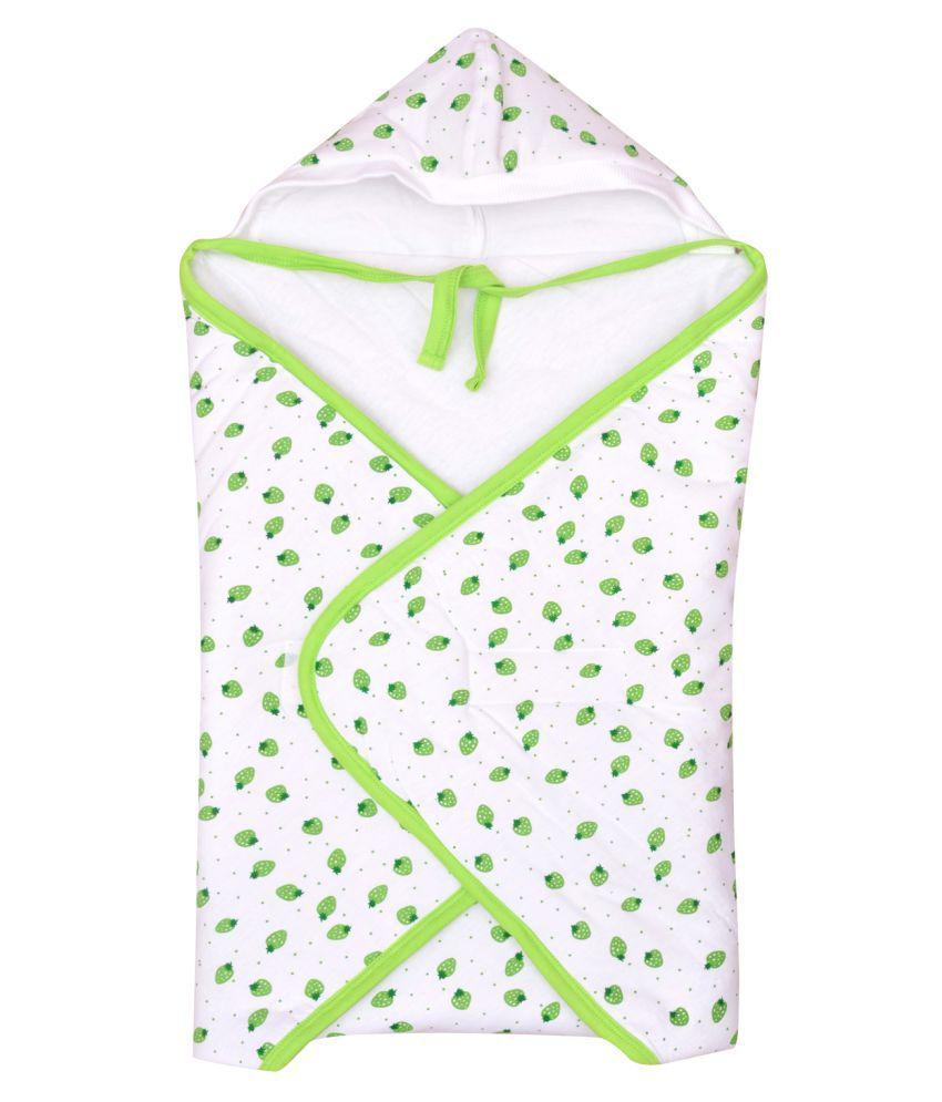 Orange and Orchid Green Cotton Baby Wrap cum blanket ( 60 cm × 60 cm - 1 pcs)