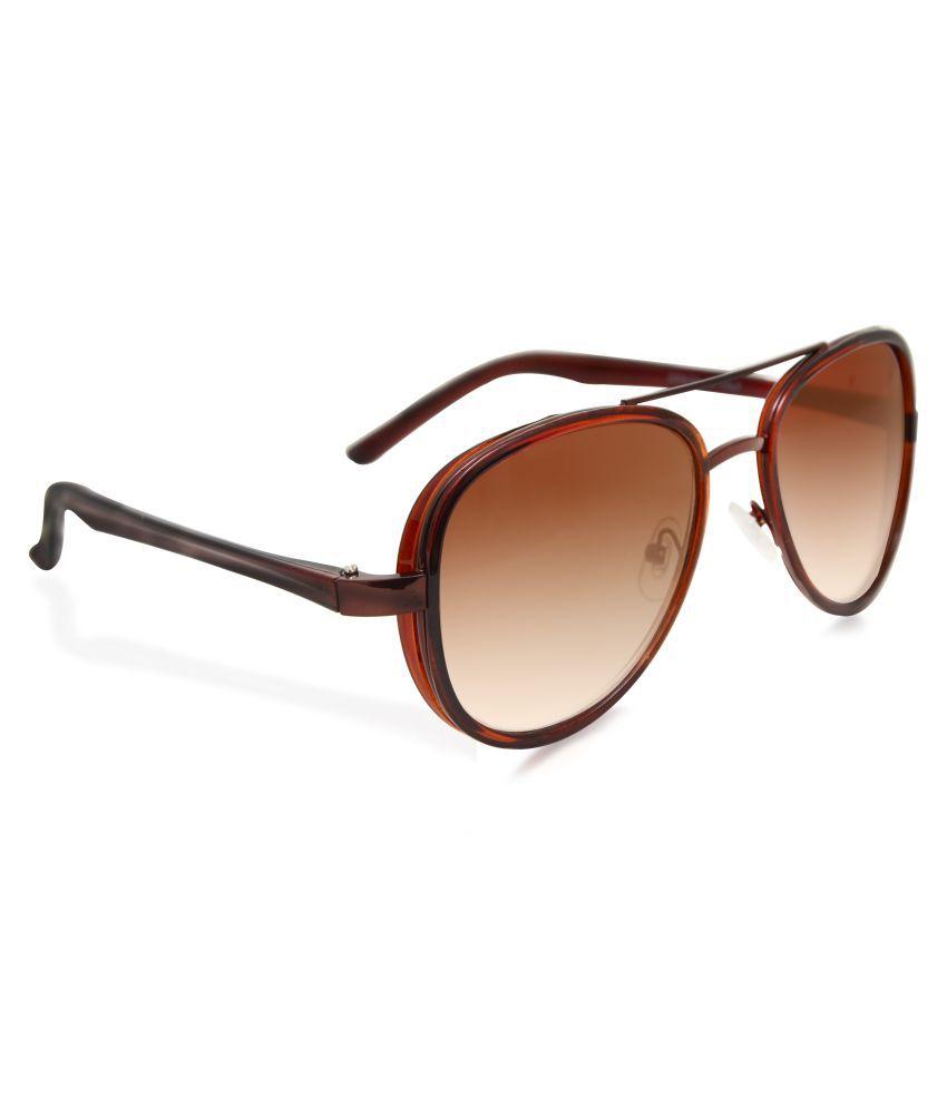 Hupshy Brown Aviator Sunglasses ( Top Brow Bar Brown )