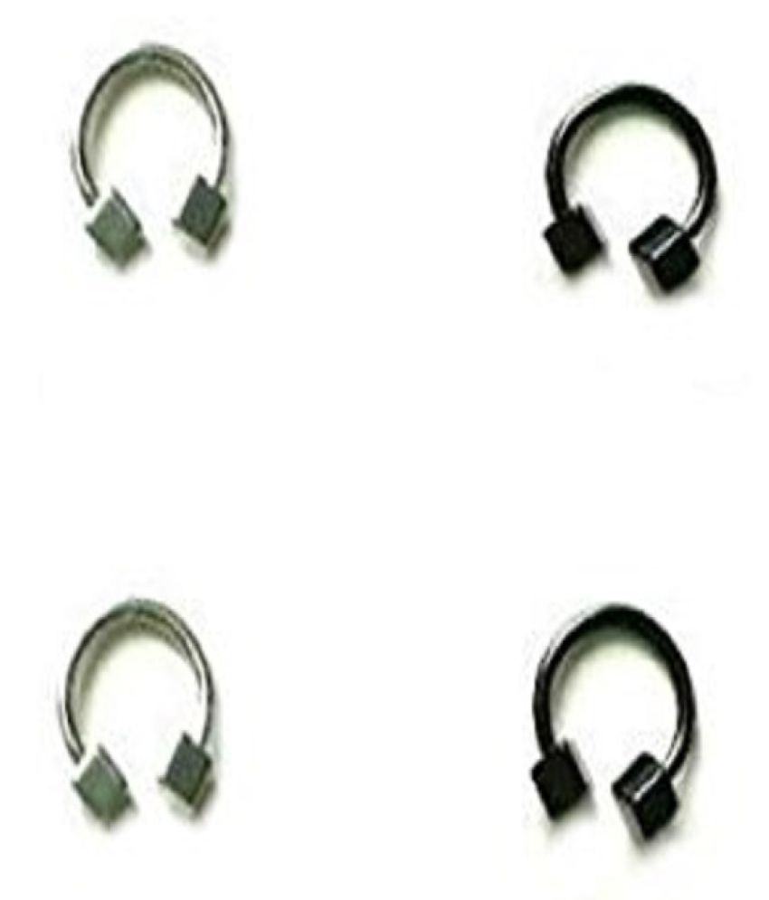 Surgical Stainless Steel Horseshoe circular piercing eyebrow, ear Studs Set - 4pc