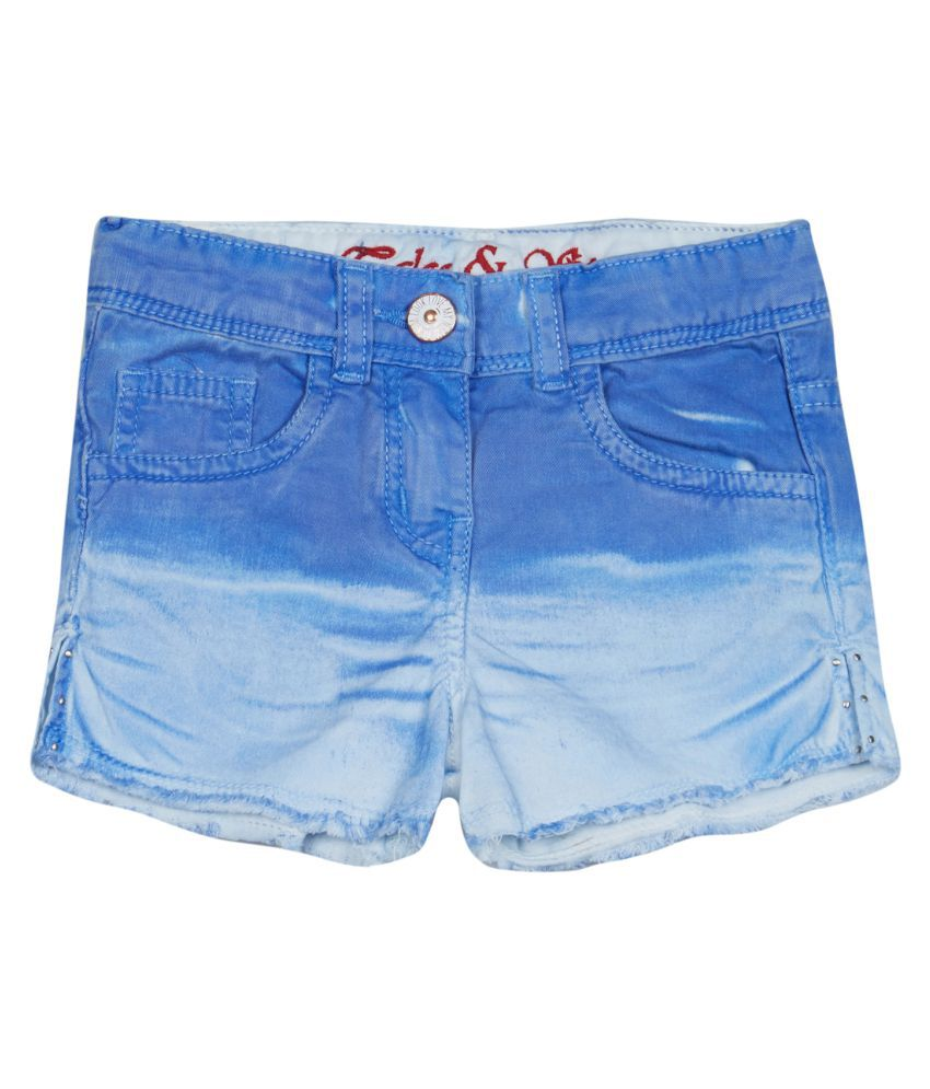 Tales & Stories Baby Girls Blue Denim Shorts