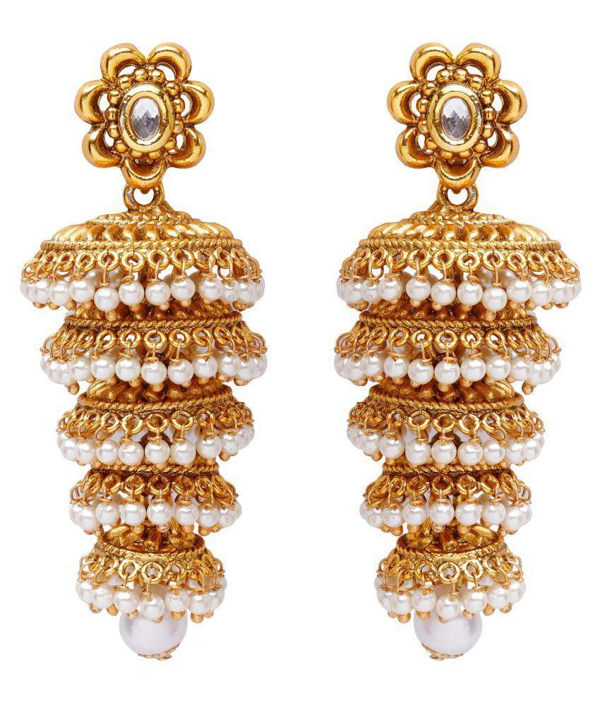 Jewels Guru Exclusive Golden White Earrings