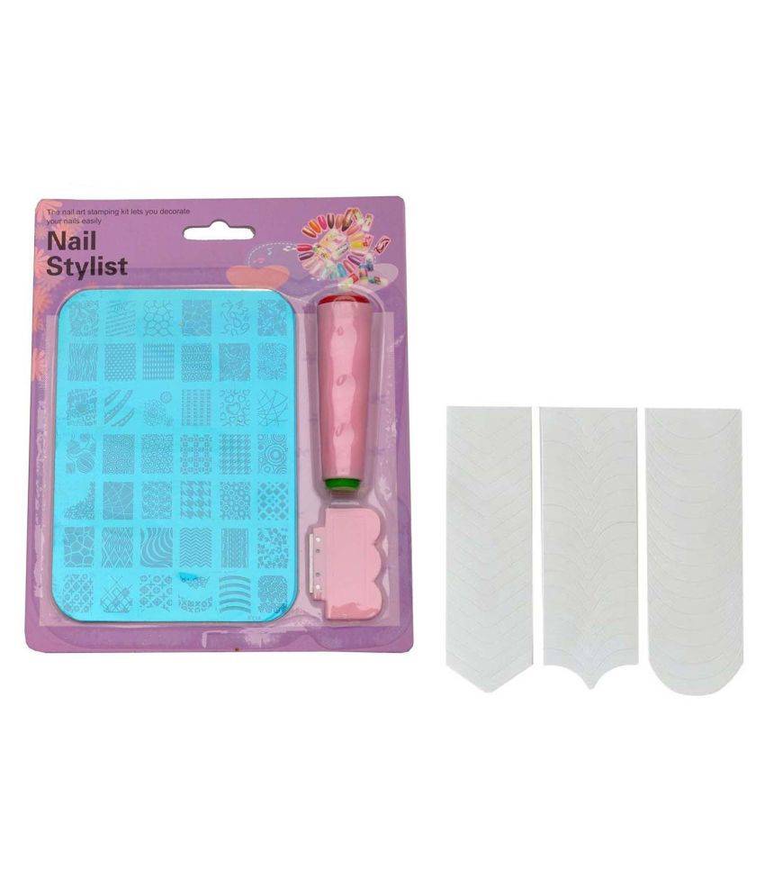 FOK Stamping Nail Art Kit Nails 2 no.s And 1 Pc French Manicure Nail ...