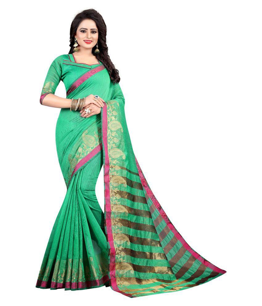Fstore Green Jacquard Saree