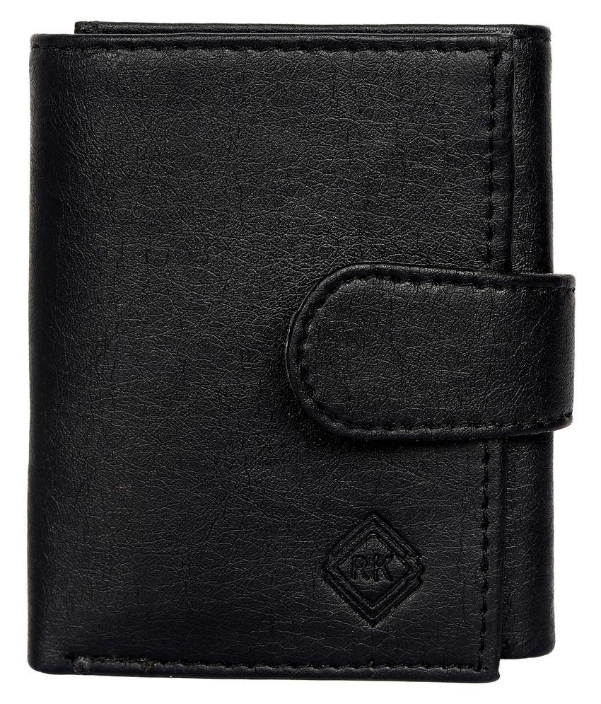 RK WALLET Leather Black Casual Regular Wallet