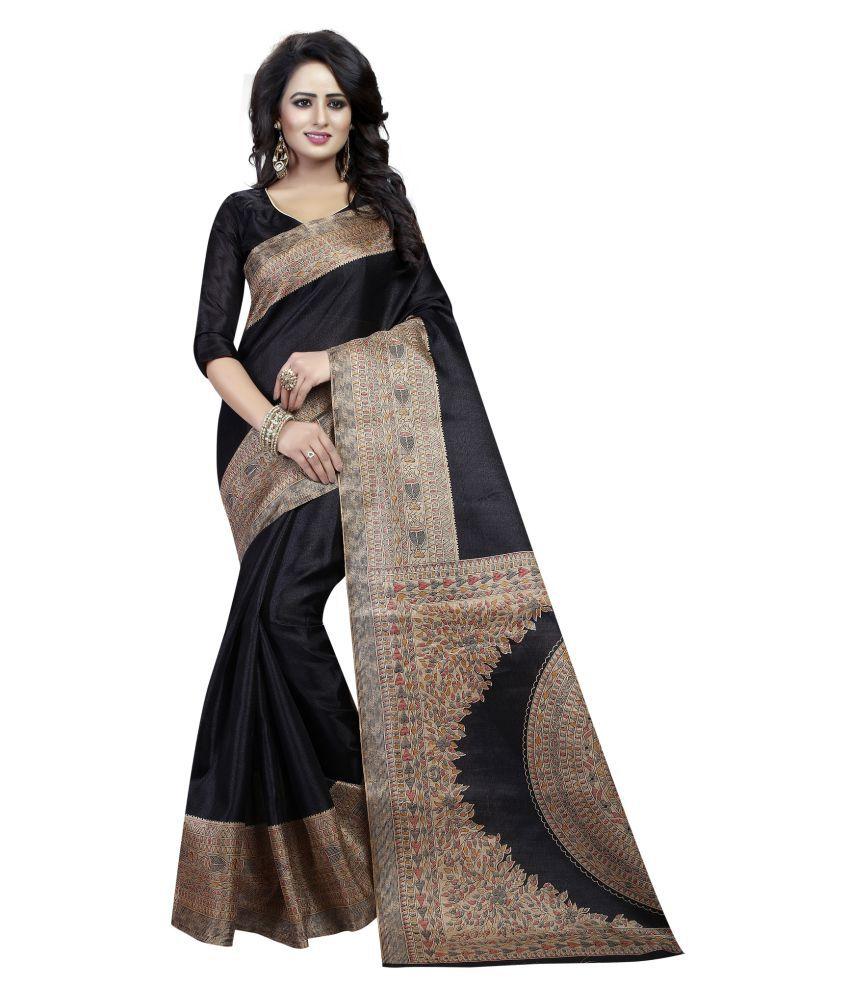 Everest Creation Black Cotton Saree