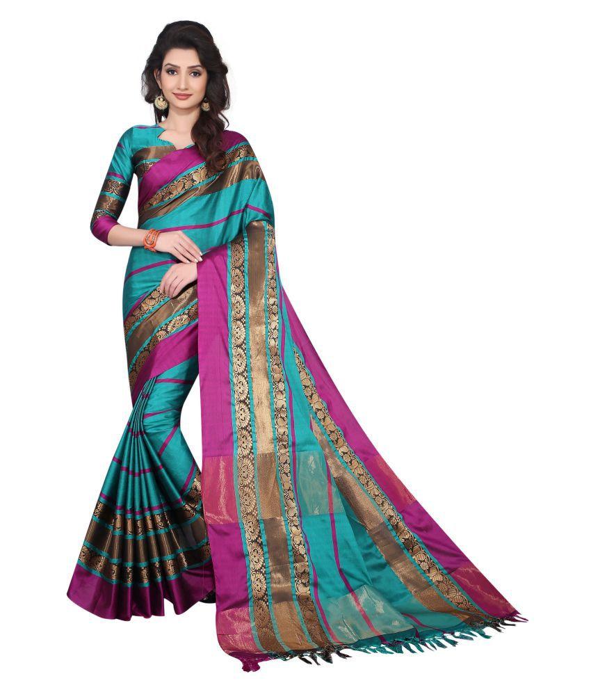 Everest Creation Blue Cotton Silk Saree