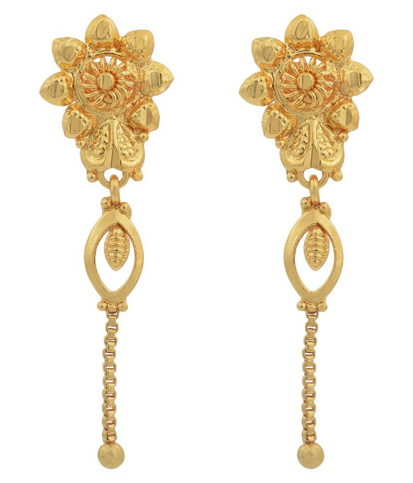 Memoir Gold plated, Flower shape, single strand dangler stylish fashion earring Women