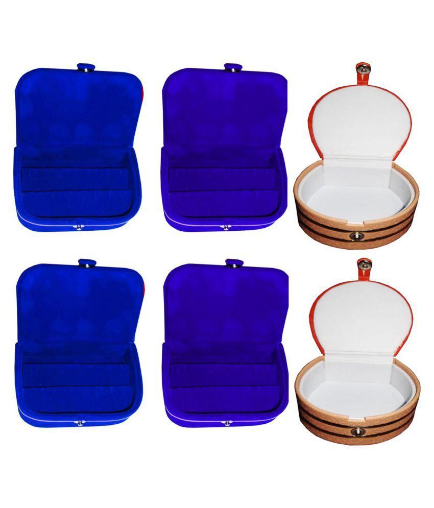 Sarohi Combo 2 pc blue earring box 2 pc blue ear ring folder 2 pc bangle box jewelry vanity case